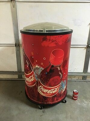 "Coca-Cola Cooler Large 37"" Tall on Wheels Coke Bottle Cans Ice Chest USED 2003"