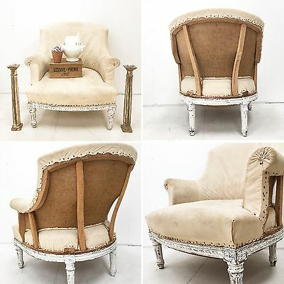 French Antique Stripped Armchair Open Back & Floral Carving (Gustavian Style).