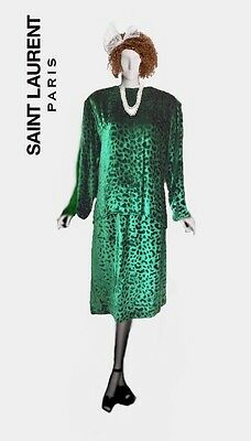 Saint Laurent Rive Gauche Vintage Green Velvet Top And Skirt Size 40