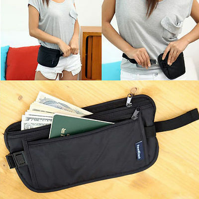 Travel Pouch Hidden Compact Security Money Passport ID Waist Belt Bag fc