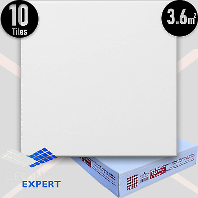 SUSPENDED VINYL LAMINATED WHITE CEILING TILES 595x595mm 600x600 Easy Clean Wipe
