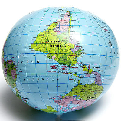 Inflatable Blow Up World Globe 40CM Earth Atlas Ball Map Geography Toy Tutor fc