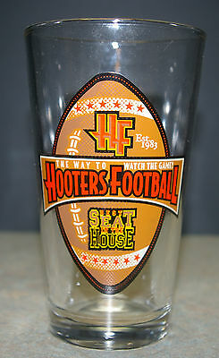 """HOOTERS FOOTBALL """"Best Seat in the House"""" Conical-style Pint BEER GLASS"""