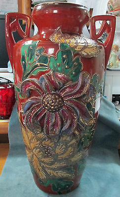 "Large Antique 17"" High Signed Embossed Hand Painted Oriental Handled Vase"