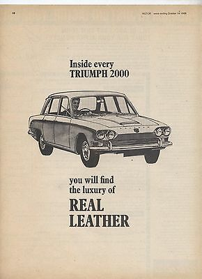 Triumph 2000 Original Advertisement removed from a magazine