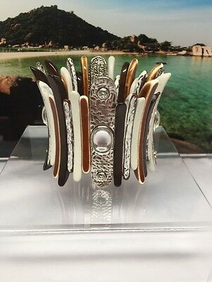 Vtg. Chunky Lucite Rhinestone Silver Tone African Tribal Stretch  Bracelet
