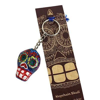Hand made and pianted Dia De Los Muertos Day of the Dead key ring keychain