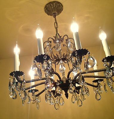 Vintage Lighting 1960s Hollywood Regency crystal chandelier