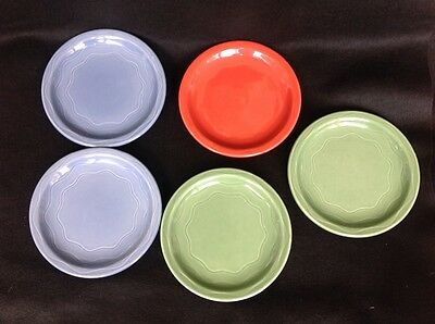 Syracuse China 5 Cantina Lunch Plates Wiggly Squiggly Lines Blue Red Green USA