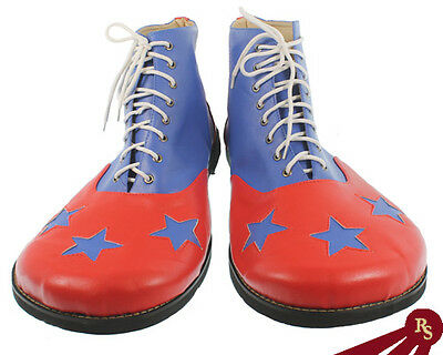 3 STAR PLEATHER CLOWN SHOES - Red w/Blue - FUN COSTUME