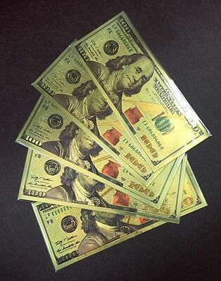 5 Pcs New Style $100 One Hundred U.S. Dollars 24kt .999 Gold Banknotes w/ Sleeve