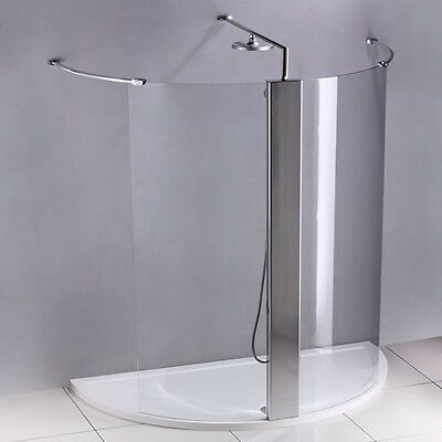 1700x900mm Luxury Walk In Shower Enclosure Glass Screen+Shower Column+Stone Tray