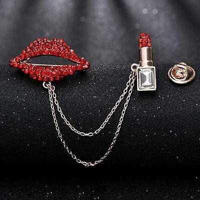 Gold Tone Rhinestone Lips Sweater Clip Clasp Makeup Lipstick Pin Brooch **