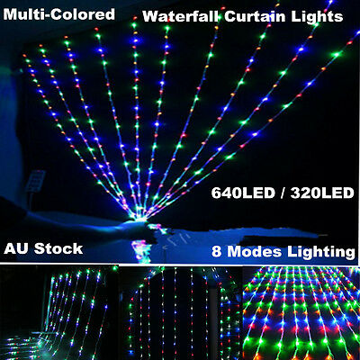 Multi-colored Waterfall Curtain Lights Fairy String Light Xmas Wedding Party New