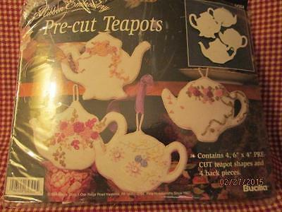 BUCILLA Pre-Cut TEAPOTS Back Pieces, Set of 4 for Silk Ribbon Embroidery