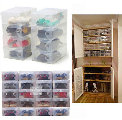 HOT Clear Plastic Storage Boxes Foldable Shoe Container Organizer Holder Case