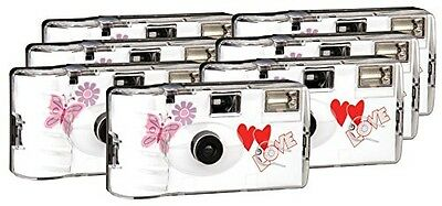 TopShot Love Hearts Disposable Camera 27 Photos, Flash, 6+1 Pack / Red