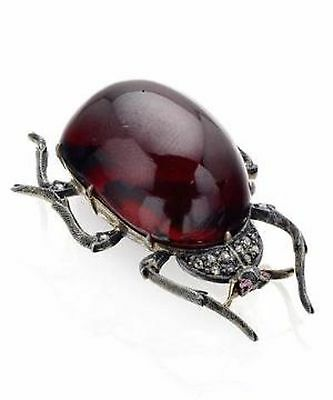 Victorian 1.40Ct Rose Cut Diamond 925 Sterling Silver Insect Brooch