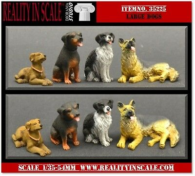 Reality In Scale 1:35 Large Dogs 4pc - Resin Diorama Accessory #35225