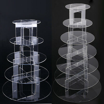 5 / 7 Tier Clear Acrylic Round Cupcake Cake Stand Display Party Birthday Wedding
