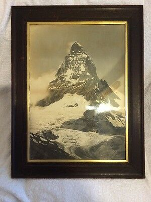 Stunning Highly Desirable Large Framed Print Photograph Matterhorn Alps Vintage