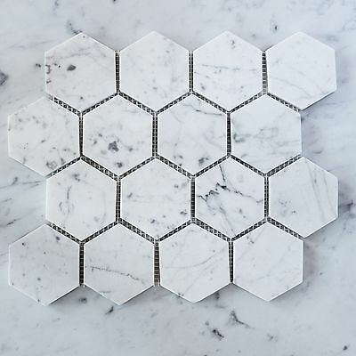Carrara Marble Hexagon 80mm Mosaic Tiles (Sheet)