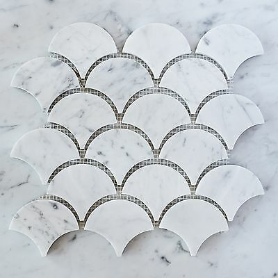 Carrara Marble Fan Mosaic Tiles (Sheet)