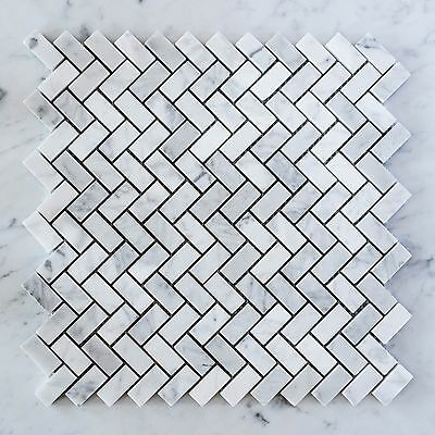 Carrara Marble Herringbone Small Mosaic Tiles (Sheet)