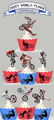 BMX Bike Bicycle Race Party 15 EDIBLE cupcake cake Toppers PRE-CUT Cup Cake