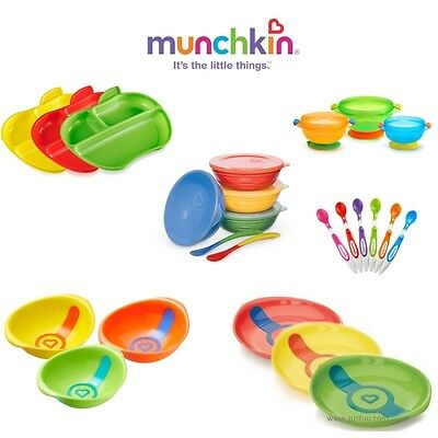 Munchkin Baby Self-Feeding Toddler Love Bowls/ Heat Sensor Plates/ Feeding Spoon