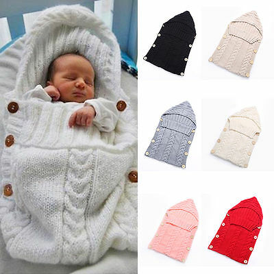 Newborn Infant Baby Swaddle Wrap Blanket Knit Crochet Cotton Sleeping bag