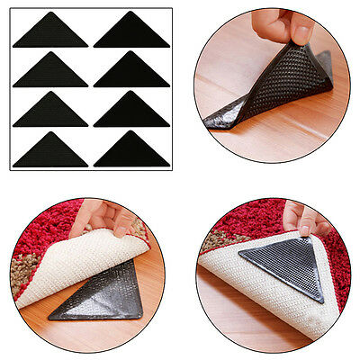 4X Reusable Rug Carpet Mat Grippers Non Slip Grip Corner Pad Anti Skid Silicon