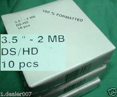 "10x 2MB DS/HD 3,5"" FLOPPY MIKRO DISK DISKETTEN IBM DISC FORMATTED 135TPI OVP QW"