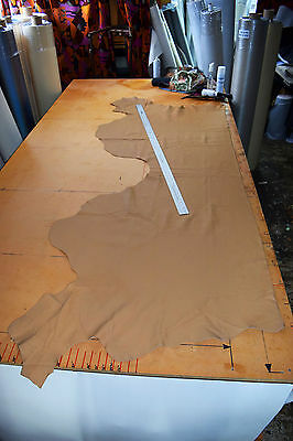 UPHOLSTERY SMALL HALF LEATHER HIDE DARK SAND BOAT CAMPER QUALITY 20 sq ft? SSL4A