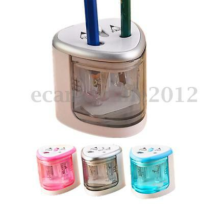 Electric Dual Holes Automatic Pencil Sharpener  Battery Operated School Office
