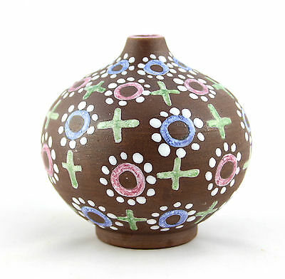 A small hand painted Laholm vase. Swedish 1960's 70's pottery