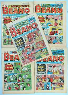 THE BEANO 1980's 5 COMICS with original free stickers sheet (set 15)