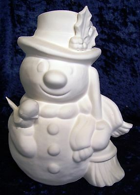Ceramic Bisque Ready to Paint Xmas  Snowman with bird and broom