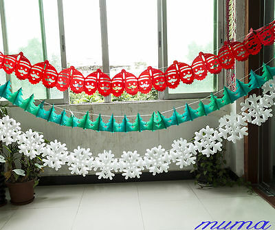 Christmas Tree Santa Snowflake Garland Hanging Ceiling Party Festive Decoration