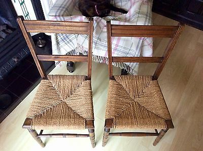 Two Rush Seated Antique Small Chairs