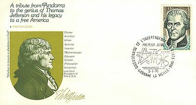 Andorra (French) First Day Cover 1976 Thomas Jefferson