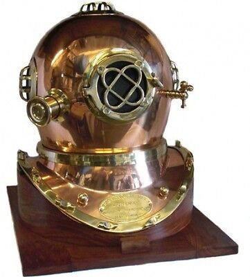 Full-Size U.S. Navy Mark V Copper and Brass Diving Helmet Replica With Wooden