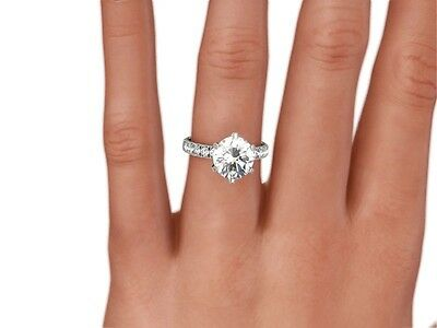 3 Ct Round Cut D/vs2 Enhanced Diamond Solitaire Engagement Ring 14K White Gold