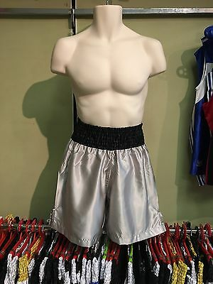 Black & Grey Satin Custom Boxing Shorts L *Name Embroidery Available*