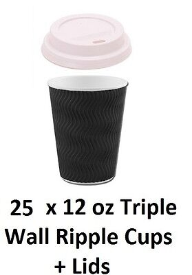 25 X Takeaway Coffee Hot Drink Ripple Paper Cups 12 Oz  With White Lids