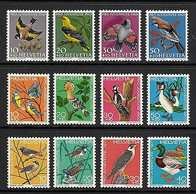 Switzerland: Pro Juventute Sets for 1969/70/71 - Birds Thematics - MNH (S49)
