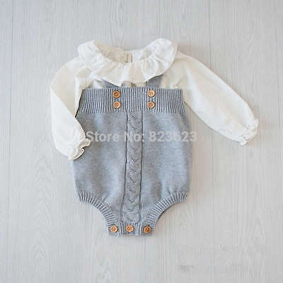 Boys Baby grey knitted romper suit with decorative brown buttons Spanish (36)