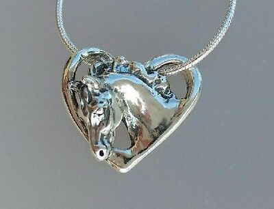 Floating Heart Horse Head Pendant & chain Sterling Silver Equestrian Jewelry