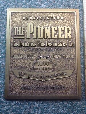 The Pioneer Co-op Fire Insurance Company MARK/ SIGN/ PLAQUE KCS Co 1956