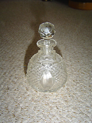Antique Vintage Glass Perfume Bottle - Unusual Shape Lovely Display - Chic